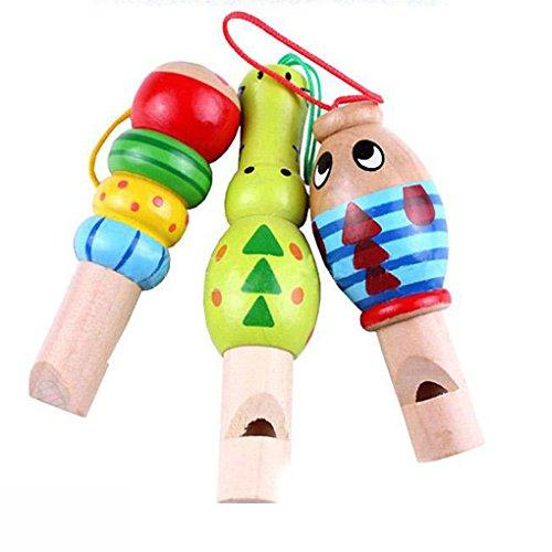 QHGstore Baby-hölzernes Karikatur-Tierpfeife-Spielzeug-pädagogisches Musik-Instrument-Spielzeug Zufällige Farbe