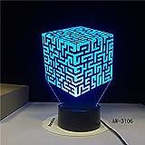 orangeww Lámpara de ilusión visual 3d / lámpara de decoración de mesa de escritorio led / 7 colores cambio automático/regalo de halloween/cubo de Rubik