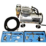 FoxHunter KMS Airbrush Kit AS18 With Compressor and 2 x Double Action Airbrushes and Hose