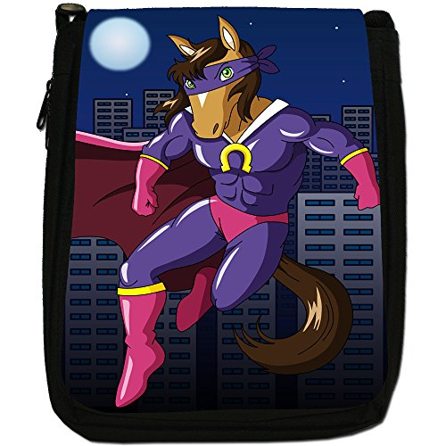 Superhero Action Hero animali Medium Nero Borsa In Tela, taglia M Mighty Caped Horse Hero