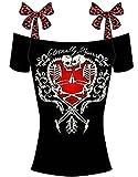 Ghope Damen T-Shirt Totenkopf Ärmellos Tank Top Gothic Shirt Schädel Blumen Druck Top Oberteil,Rot 44