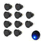 10Pcs 12V 16A Blau LED Licht Auto KFZ Runder Schalter Wippschalter Kippenschalter Druckschalter