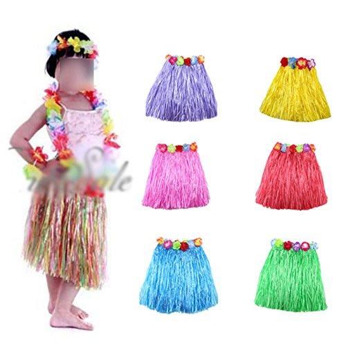 HuntGold 1X Kinder Mädchen Blumen Hula Grass Rock Phantasie kurzes Kleid Kostüm Rock Armband (Kostüme Mädchen Für Hawaii)