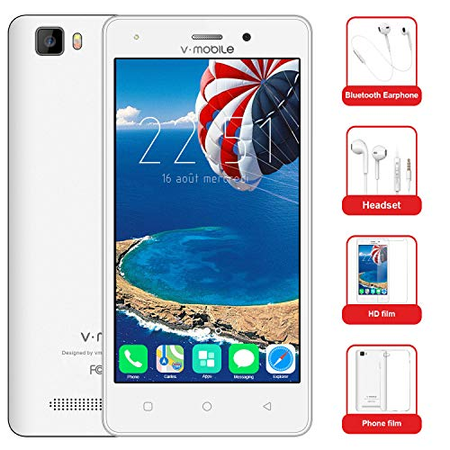 Telefono Movil Libres Baratos 10Pcs v·mobile A10 Móviles Dual SIM 4G 5.0' Android 7.0 Batería 2800mAh 8GB ROM Cámara 5MP Moviles Baratos -Smartphone(Oro Blanco Negro opcional)(Blanco)
