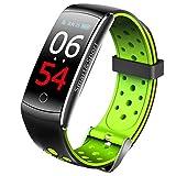 Fitness Tracker, Fitness Armband mit Blutdruckmessung,Wasserdicht IP68 Aktivitätstracker mit Herzfrequenz,Blutdruckmessgerät mit Vibrationsalarm,Anruf SMS Beachten,kompatibel mit für iOS Android,Green