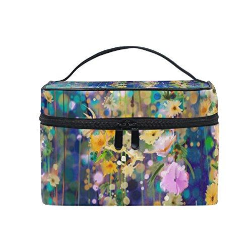 ALAZA Sac cosmétique floral abstrait aquarelle fleurs de printemps Maquillage Voyage cas de stockage organisateur