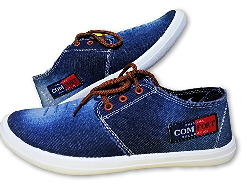 Men's Sneakers Blue Denim Casual Shoes,Fashionable,Stylish,Cool,Partywear,Gym,Training,LIght Weight,Branded,Running,Walking,Slip on,Trendy Sneakers.  available at amazon for Rs.399