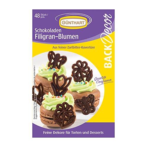 Günthart Backdecor 48 Schokoladen Filigrane Blumen (Schokolade Blumen Und)