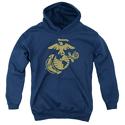Us Marine Corps - - Youth Gold Emblem Pullover Hoodie, X-Large, Navy -