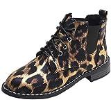Trydoit Bottes à Lacets en Daim à La Mode Femmes Bottes Plates Simples en Daim Décontractées Chaussures Léopard Bottes Femme Plates