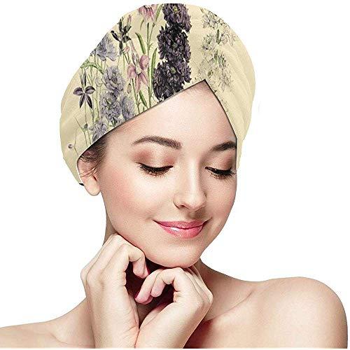Tiamo Violet Botanischer Druck Antike natürliche Blumenhaar-trockene Tuch-Kappen-Turban-Haar-Tuch-Verpackung Schnelles Haar-trockenes Tuch-schnelles trockenes Tuch für Haar