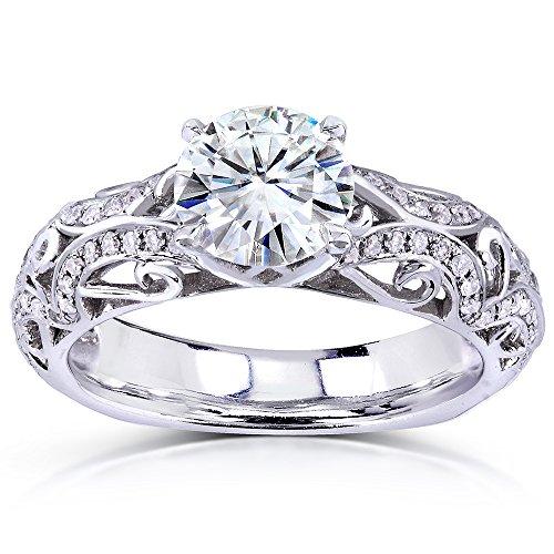 Kobelli Moissanite Moissanit & Verlobung Diamant Ring 11/6ctw in 14K Weiß Gold 10.0