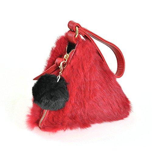 zarapack-womens-runway-style-genuine-fur-wristlet-irregular-triangle-shape-pyramid-pouch-clutch-red