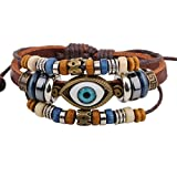 Spades & Clubs Trendy Tribal Style Mysterious Evil Eye Double Beads Strands Alloy Rings Multilayer Charms Leather Wrap Bracelet