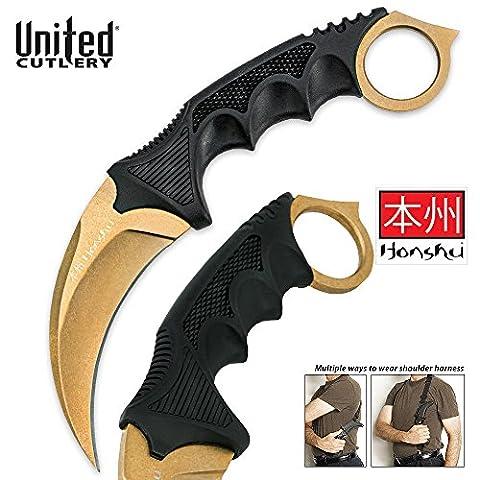 "United Cutlery - Honshu Ninja Karambit ""Gold Edition"" Messer mit Schulter Trageholster (seltenste Version)"