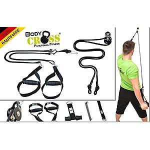 BodyCROSS PREMIUM Schlingentraining Set | Schlingentrainer mit Türanker und Sling Trainer mit Umlenkrolle | abnehmbare Griffe | Poster mit Übungen, Trainingsplan und Befestigungsschlaufe | 10 Jahre Garantie