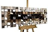 Extravagantes KunstLoft® Holz Wandbild 'Lustrous Pixel' 147x55x8,5cm | Handgefertigte XXL Luxus Wandskulptur | Bild auf Holz Unikat | Abstarkt Grau Braun Quadrat | Holzbild modern