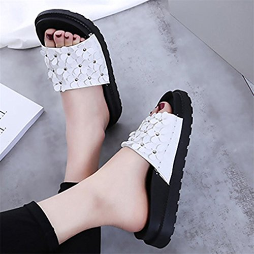 Malloom® Sandalen, Sommer Frauen Strand Schuhe Blume flache Sandalen Slip Resistant Pantoffeln Sandale Weiß