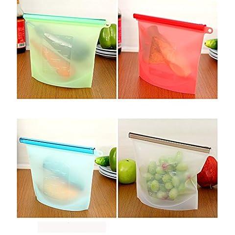 1L Sacs de stockage de nourriture en silicone Ensemble de 4- Joint réutilisable et étanche à l'air- FLYING_WE Récipient polyvalent réutilisable pour la conservation des aliments pour les légumes à base de fruits et ainsi de suite. ( Étanches )