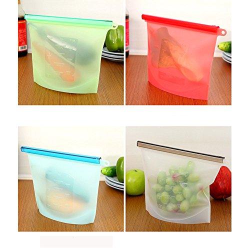 1L Silikon Food Storage Taschen Set von 4- Wiederverwendbare und Airtight Seal- FLYINF_WE Vielseitig Lebensmittelkonservierung -Beutel Container für Obst Gemüse Fleisch und so weiter. (Leakproof) Microwavable Kochen
