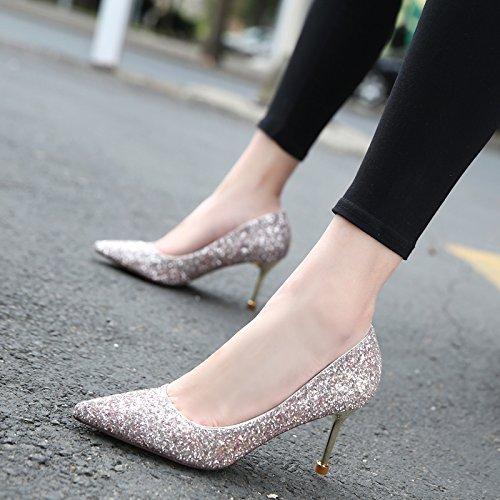GTVERNH-La Molla Nuova Sexy Bella Come Quella Notte Il Banchetto Scarpe Da Donna Con Tacco Alto Luce Punta Ugello Singolo Scarpe Pink