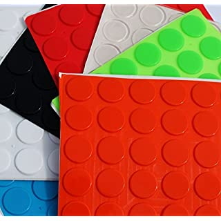Simply the Best Large 3M RUBBER FEET Bumpons Stoppers ~ 20mm Dia x 2mm Height ~ Black, Clear, White, Blue, Green, Red, Orange (Black, 108 Individual Bumpons)