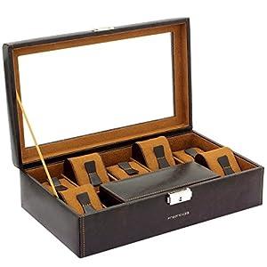 Uhrenkasten BOND für 7 Uhren und einem herausnehmbaren Uhrenetui für die Reise in braun