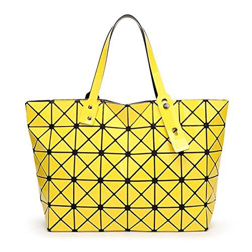 Strawberryer Sacs à bandoulière en cuir femmes Sacs à main géométriques Pliage en sac fourre-tout,yellow-43*28*10.6cm