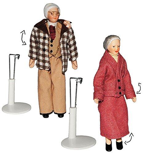 2 Set: Großelterm - Oma + Opa - Puppe für Puppenstube - Maßstab 1:12 - Porzellan mit echten Haaren incl. Ständer - Biegepuppen Familie Biegepuppe Nostalgie Porzellanpuppe Puppenhaus Sammlerpuppe Nostalgie - Großmutter & Großvater - Porzellanpuppen - Uroma Puppen Puppenhaus 1 12 Maßstab Familie