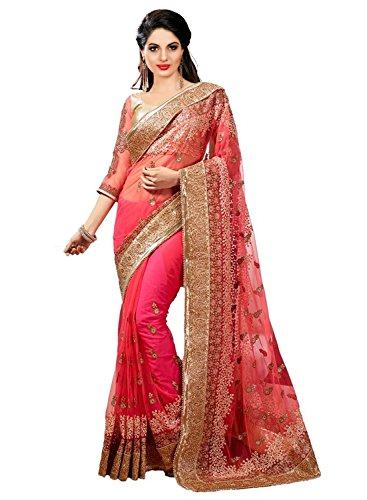 Panash Trends Women\'s Net Saree (UJJ.K680_Pink Color)