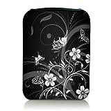 wortek Universal eBook & Tablet Designer Tasche aus Neopren in 7 Zoll - Schmetterlinge Ranke Schwarz Weiß