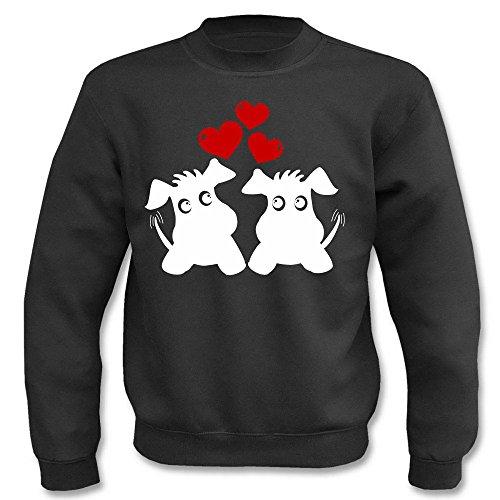 Pullover - Zwei süße Hunde mit Herzen Schwarz