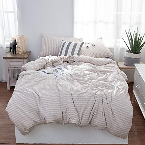 LIFETOWN Bettwäsche-Set aus Jersey-Strick-Baumwolle, 3-teilig, 1 Bettbezug und 2 Kissenbezüge, super weich und pflegeleicht Modern King helles kaffebraun (King Helle Bettbezug)
