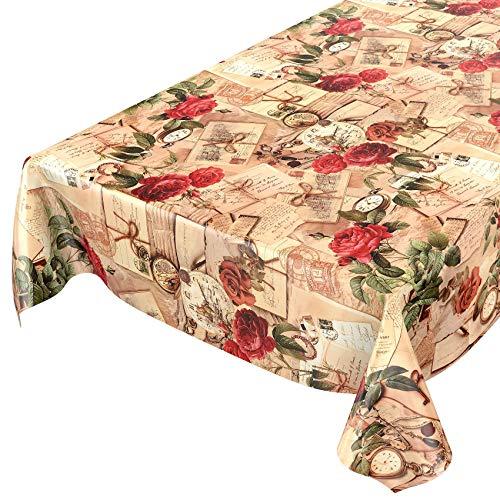 Anro tela cerata tovaglia cerata tovaglia lavabile oldtime rose in beige circa 100cm, asciugamani, beige, 240x140cm