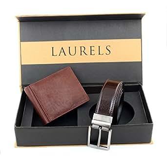 Laurels Men's Wallet & Belt Combo (Brown) (UT-02 BT-01)