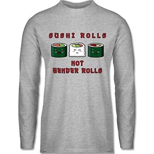 Shirtracer Statement Shirts - Sushi Rolls, Not Gender Rolls - Herren Langarmshirt Grau Meliert
