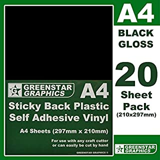 GREENSTAR GRAPHICS ® 20 SHEET PACK - A4 Sticky Back Plastic (self adhesive vinyl) Great for hobbies and crafts. Use with silhouette cameo/curio/portrait/scan n cut/robo (A4 BLACK GLOSS 20)