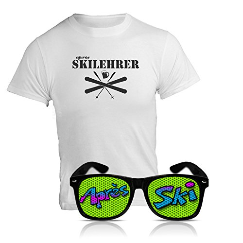 "Preisvergleich Produktbild Après Ski Party Set ""Après Ski Lehrer"" Funshirt und Spassbrille Nerd schwarz Fasching Set Party Bundle Après Ski Zubehör Funshirt und Sonnenbrille Après Ski Karnevals Set Party Bundle (Large)"