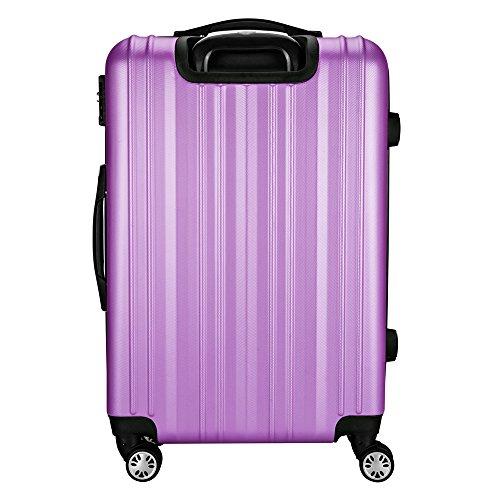Sunydeal Valise cabine ABS ultra léger Voyage transport bagage cabine Bagage à main 4 couleurs Valise rigide 4 roulettes - (S - 54x34.5x23cm) - Pourpre