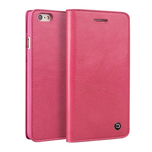 55d7f8a878e QIALINO iPhone 6 Plus /6s Plus Wallet Case (Pink), Cover is Made