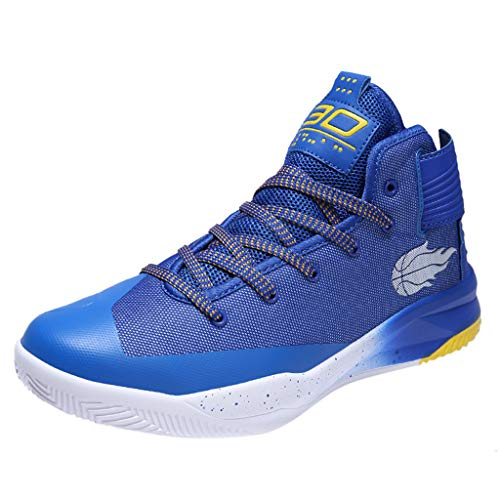 Scarpe da Basket Track & Field Running Mesh Traspirante Calzature Sportive Professionali Coppia Shock Assorbimento Skid Scarpe da Pallacanestro Ginnastica (37 EU,Blu)