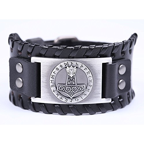 VASSAGO Leather bracelet with metal buckle and knot, vintage Norse Myth Thor style, viking hammer style, talisman style