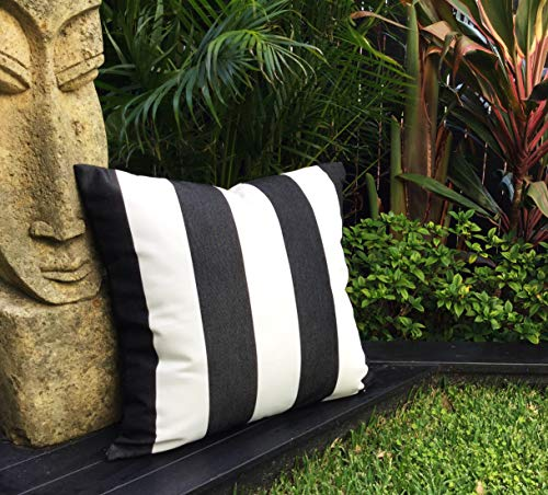 Wi33bbon Schwarz und Weiß gestreift Outdoor Kissen Sonnenschirm Stoff Outdoor Abdeckung nur anthrazit gestreift Outdoor Kissen Moderne Kissen -