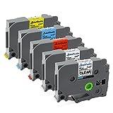 5x Schriftbandkassete für Brother TZ-131 TZ-231 TZ-431 TZ-531 TZ-631, 12mm x 8 m schwarz auf transparent, weiß, rot, blau, gelb für Brother P-touch 000W 1010 1090 1830VP 2030VP