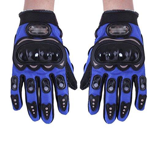 TOOGOO (R) Par Guantes Fibra Carbono PU Proteccion Azul para Moto Bici Motocicleta Talla M