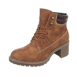 Schnürstiefeletten Damen-Schuhe Klassischer Stiefel Blockabsatz Schnürer Schnürsenkel Ital-Design Stiefeletten Camel, Gr 40, 268-Ga-