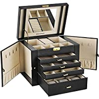 SONGMICS Large Jewellery Box 5 Layers Jewellery Storage Organizer with Drawer Necklace Hook Watch Pillow