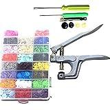 Hmjunboys Pince A Boutons Pressions DIY Tool 360 Pcs, Boutons Pressions de T5-12mm,Pression Kit de Pince Universel En Métal PourT3 T5 T8, 24 Couleurs pour DIY Artisanat