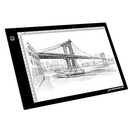 XCSOURCE Ultra dünnes DIN A4 große LED Licht-Box Künstler Zeichner Zeichentablett Durchpausen Drawing Board Schreibtafel Tattoo Kopieren Table Pad mit einstellbarer Helligkeit XC702