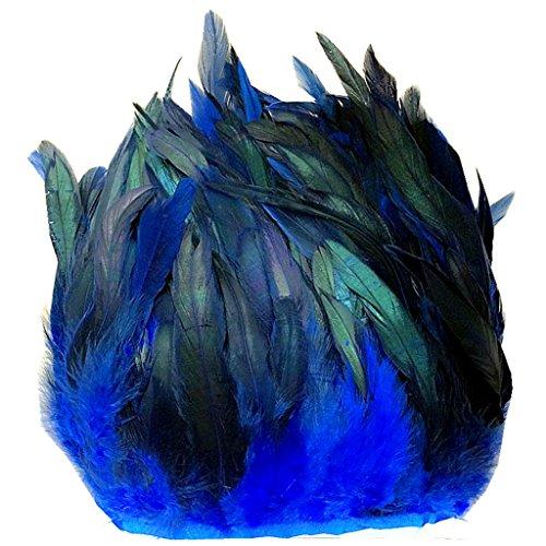 ERGEOB® Echte Hahnenfedern auf 200cm Stoffstreifen in Marineblau - 13 Farbvarianten - Ideal für Fasching, Karneval, Halloween, Basteln, Bekleidung, Kostüme. (Halloween Kostüm Schnell)